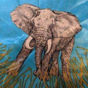 Vintage Accessories - Vintage silk elephant scarf blue